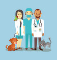 veterinarian staff with cute pets isolated on blue vector image