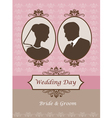 Vintage wedding card invitation vector image