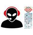 Alien Call Center Icon with 2017 Year Bonus vector image