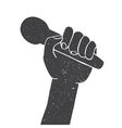 drawing a microphone in a hand vector image