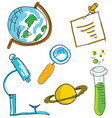 drawn picture with science stuff vector image