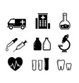 set icons for medicine industry vector image