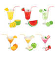 Glasses of Fruits and Cocktails vector image