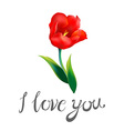 i love you watercolor blue word with red hearts on vector image