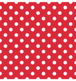 Seamless white polka dots on red background vector image