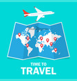 travel and tourism airplane flying above the map vector image