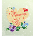 Vintage Card Heart is made of old paper with daisy vector image