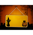 Halloween sign on wood vector image vector image
