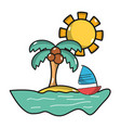 palm with sailing boat around of island vector image