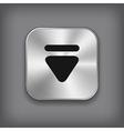 Down arrow icon - metal app button vector image vector image