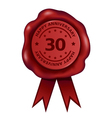 Happy Thirty Year Anniversary Wax Seal vector image