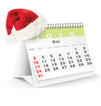 May 2015 desk calendar with Christmas hat vector image vector image