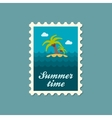 Island with palm trees flat stamp summertime vector image