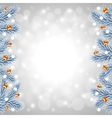 White Christmas tree branches on snowy background vector image