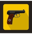Pistol military weapon icon flat style vector image