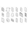 door icon set outline style vector image