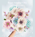 flowers bouquet valentine day or wedding card vector image