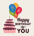 happy birthday card invitation greeting cake vector image