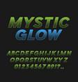 mystic glow bold italic font typeface vector image