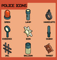 police color outline isometric icons vector image