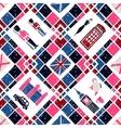 Seamless pattern Argyle and English Symbols vector image