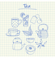 tea doodles squared paper vector image