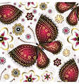 Seamless pattern with purple vintage butterflies vector image