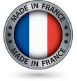 Made in France silver label with flag vector image