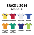World Cup Brazil 2014 - group C football jerseys vector image