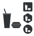 Fast food icon set monochrome vector image