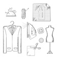 Tailor tools and accessories sketches set vector image
