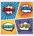 Pop Art Banner Comics Style Expressions Set Bubble vector image vector image