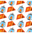 forest camping tent and lamp seamless pattern vector image