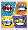 Pop Art Banner Comics Style Expressions Set Bubble vector image