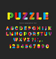 puzzle font abc colorful creative letters and vector image