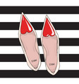 shoes with a narrow nose and a red heart on top vector image
