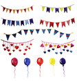 Watercolor set vintage garlands and balloons for vector image