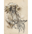 Indian chief holding a peace pipe vector image