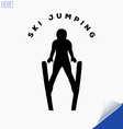 Jumping skier silhouette on white background vector image