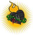fire iron heart vector image