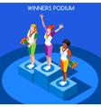 Winner Podium 2016 Summer Games Flat 3D vector image