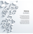 abstract Music notes with shadows On white vector image