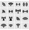 black wireless icons set vector image vector image