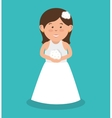 beautiful bride wedding with bouquet flowers vector image