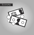 black and white style icon banknotes and coins vector image