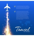 Blue background with white airplanes vector image