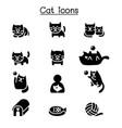 cat icon set graphic design vector image