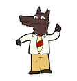 comic cartoon business wolf with idea vector image