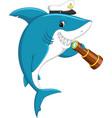 cute shark holding binocular vector image