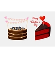 Piece of pie or biscuit cake with bilberry vector image
